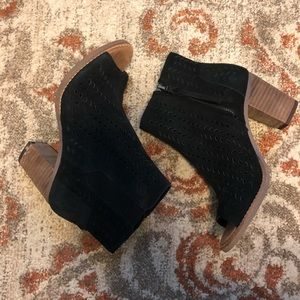 Black leather suede heeled booties